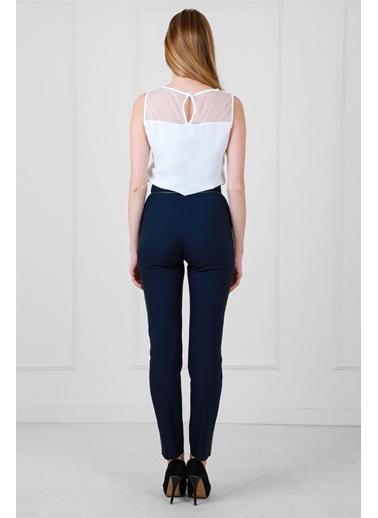 JEANNE D'ARC Yüksek Belli Biye Ve Düğme Detaylı Darpaça Pantolon  Lacivert